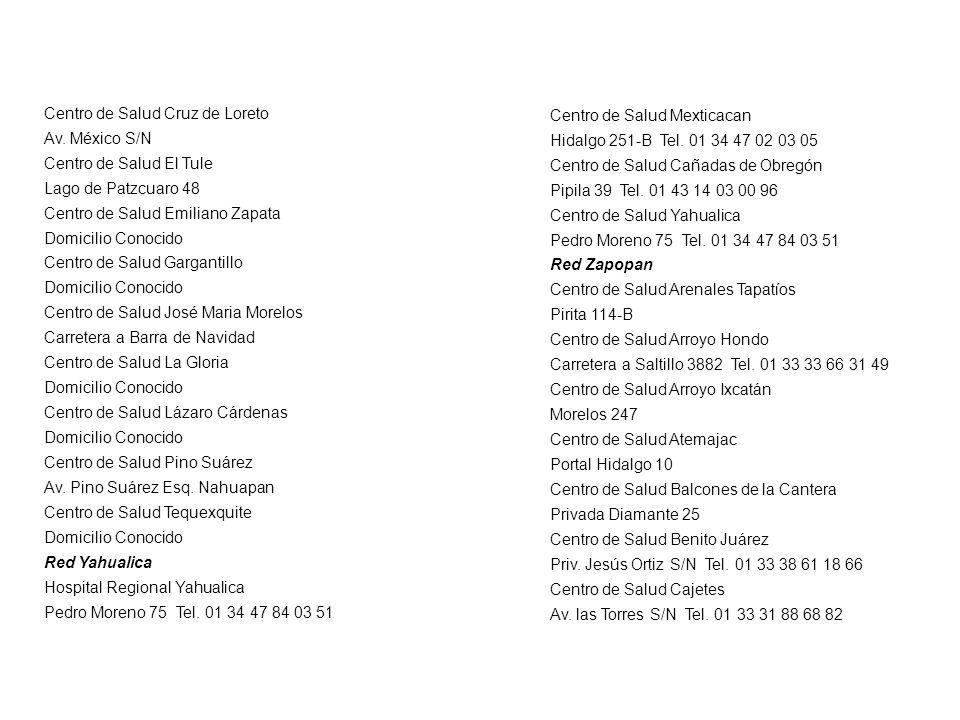 Centro de Salud Cruz de Loreto Av. México S/N Centro de Salud El Tule Lago de Patzcuaro 48 Centro de Salud Emiliano Zapata Domicilio Conocido Centro d