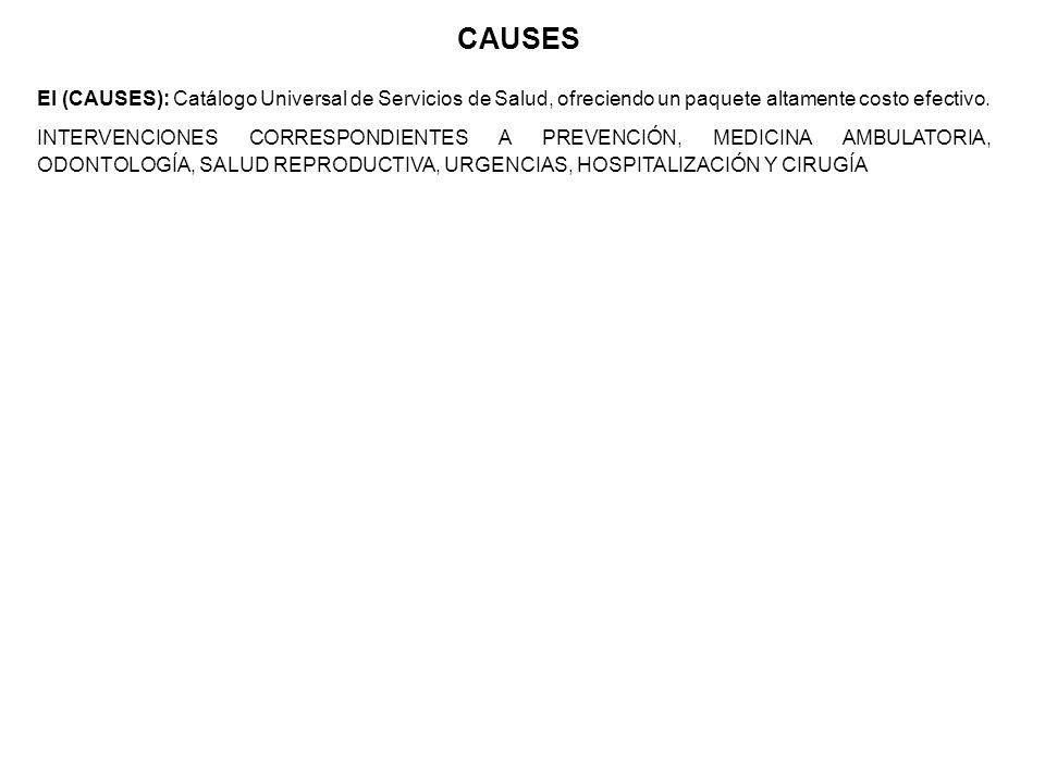 El (CAUSES): Catálogo Universal de Servicios de Salud, ofreciendo un paquete altamente costo efectivo. INTERVENCIONES CORRESPONDIENTES A PREVENCIÓN, M
