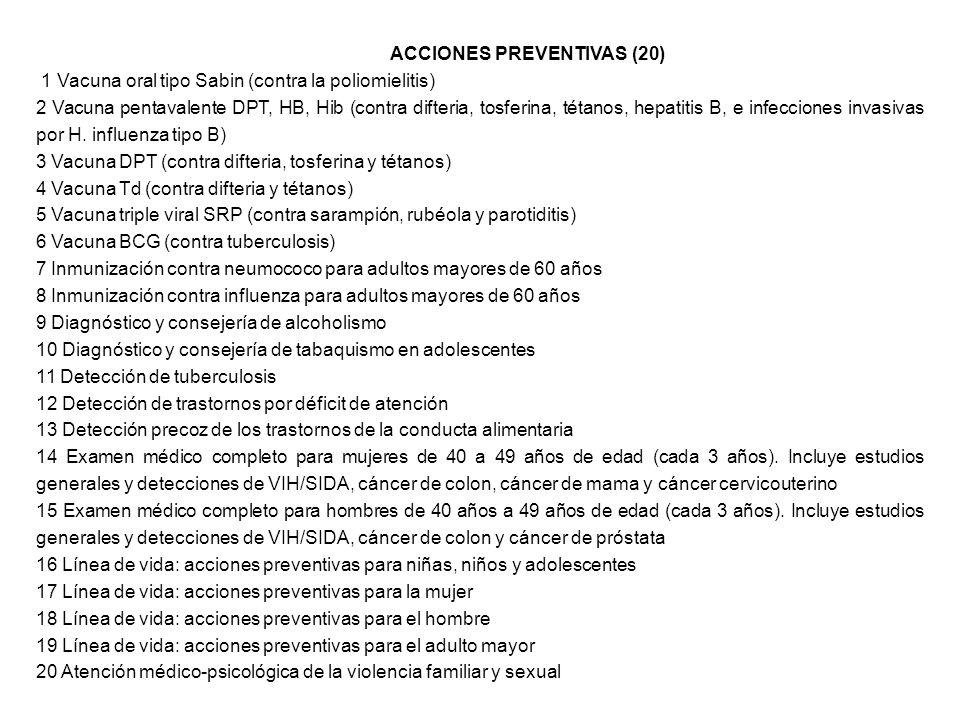 ACCIONES PREVENTIVAS (20) 1 Vacuna oral tipo Sabin (contra la poliomielitis) 2 Vacuna pentavalente DPT, HB, Hib (contra difteria, tosferina, tétanos,