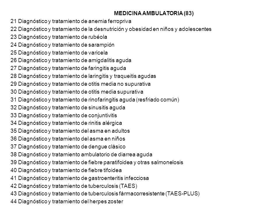 MEDICINA AMBULATORIA (83) 21 Diagnóstico y tratamiento de anemia ferropriva 22 Diagnóstico y tratamiento de la desnutrición y obesidad en niños y adol