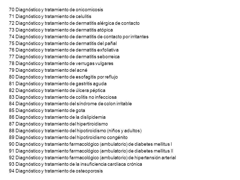 70 Diagnóstico y tratamiento de onicomicosis 71 Diagnóstico y tratamiento de celulitis 72 Diagnóstico y tratamiento de dermatitis alérgica de contacto
