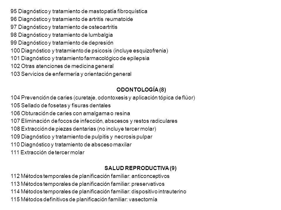 95 Diagnóstico y tratamiento de mastopatía fibroquística 96 Diagnóstico y tratamiento de artritis reumatoide 97 Diagnóstico y tratamiento de osteoartr