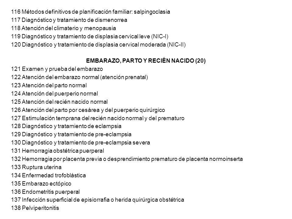 116 Métodos definitivos de planificación familiar: salpingoclasia 117 Diagnóstico y tratamiento de dismenorrea 118 Atención del climaterio y menopausi