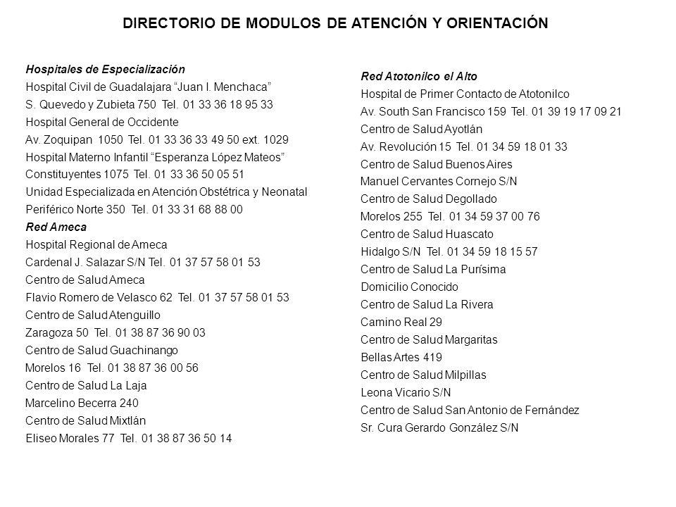 DIRECTORIO DE MODULOS DE ATENCIÓN Y ORIENTACIÓN Hospitales de Especialización Hospital Civil de Guadalajara Juan I. Menchaca S. Quevedo y Zubieta 750