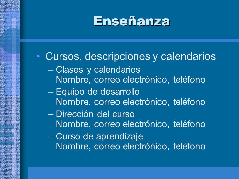 Enseñanza Cursos, descripciones y calendarios –Clases y calendarios Nombre, correo electrónico, teléfono –Equipo de desarrollo Nombre, correo electrón