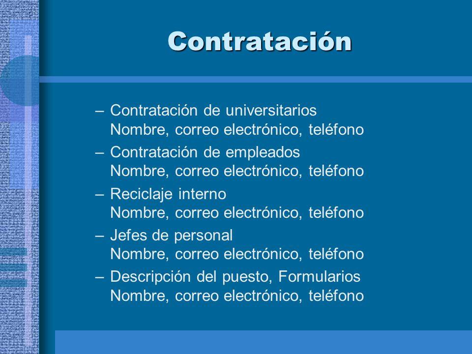 Contratación –Contratación de universitarios Nombre, correo electrónico, teléfono –Contratación de empleados Nombre, correo electrónico, teléfono –Rec