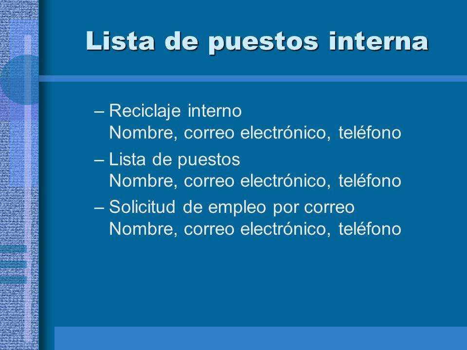 Lista de puestos interna –Reciclaje interno Nombre, correo electrónico, teléfono –Lista de puestos Nombre, correo electrónico, teléfono –Solicitud de