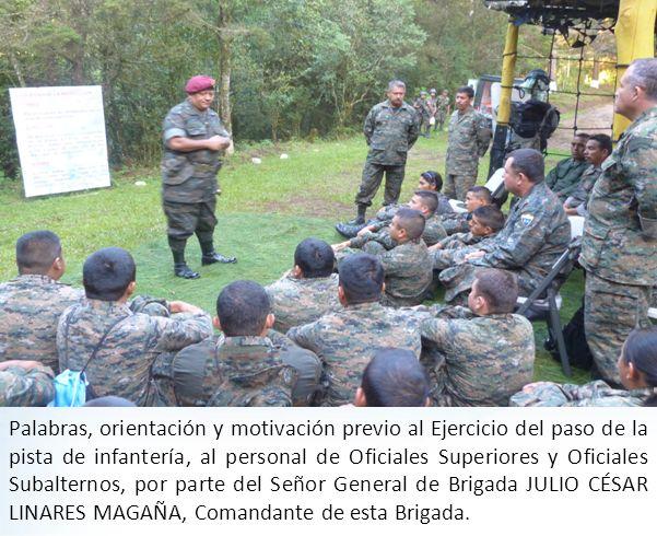 Palabras, orientación y motivación previo al Ejercicio del paso de la pista de infantería, al personal de Oficiales Superiores y Oficiales Subalternos