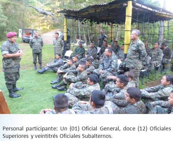 Personal participante: Un (01) Oficial General, doce (12) Oficiales Superiores y veintitrés Oficiales Subalternos.