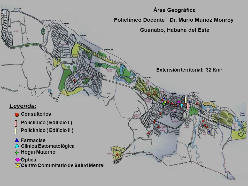 Área Geográfica Policlínico Docente ¨ Dr. Mario Muñoz Monroy ¨ Guanabo, Habana del Este Extensión territorial: 32 Km 2 Leyenda: Consultorios Policlíni