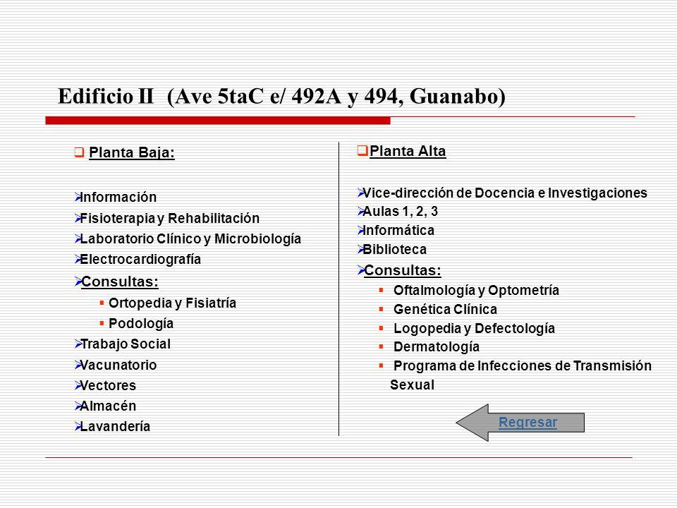 Edificio II (Ave 5taC e/ 492A y 494, Guanabo) Planta Baja: Información Fisioterapia y Rehabilitación Laboratorio Clínico y Microbiología Electrocardio