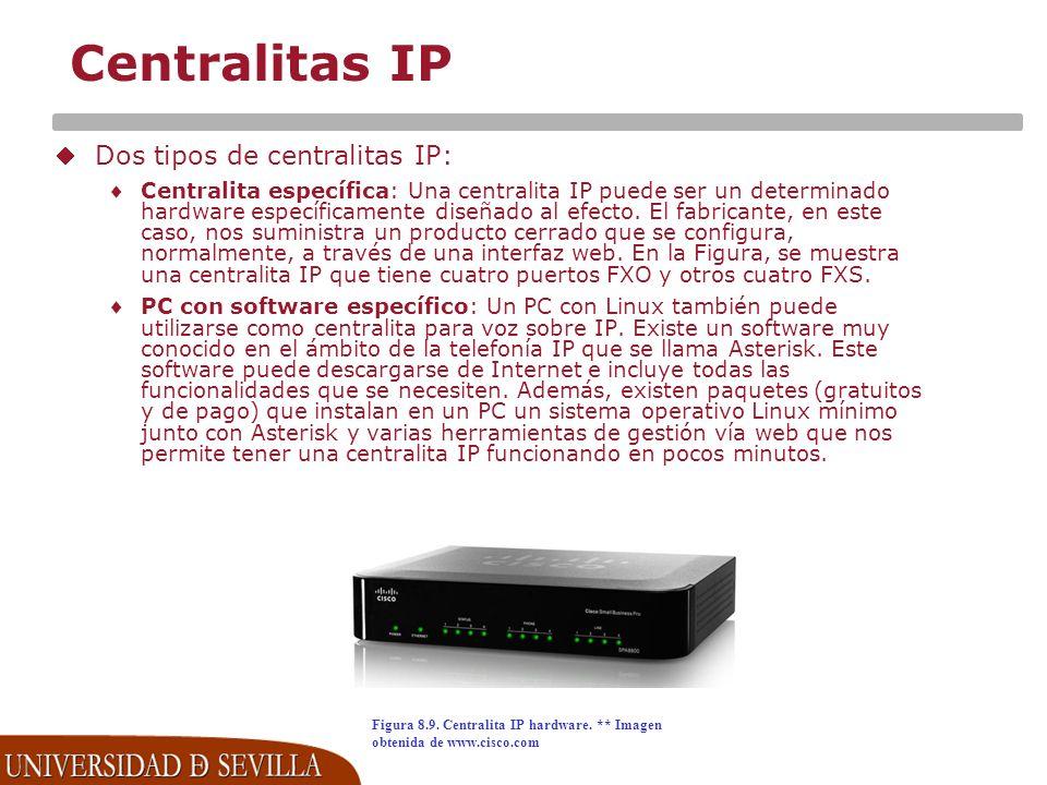 Centralitas IP Dos tipos de centralitas IP: Centralita específica: Una centralita IP puede ser un determinado hardware específicamente diseñado al efecto.