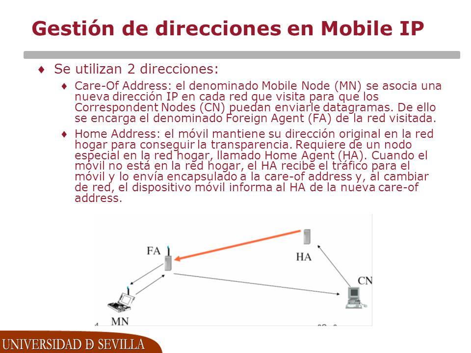 Gestión de direcciones en Mobile IP Se utilizan 2 direcciones: Care-Of Address: el denominado Mobile Node (MN) se asocia una nueva dirección IP en cada red que visita para que los Correspondent Nodes (CN) puedan enviarle datagramas.