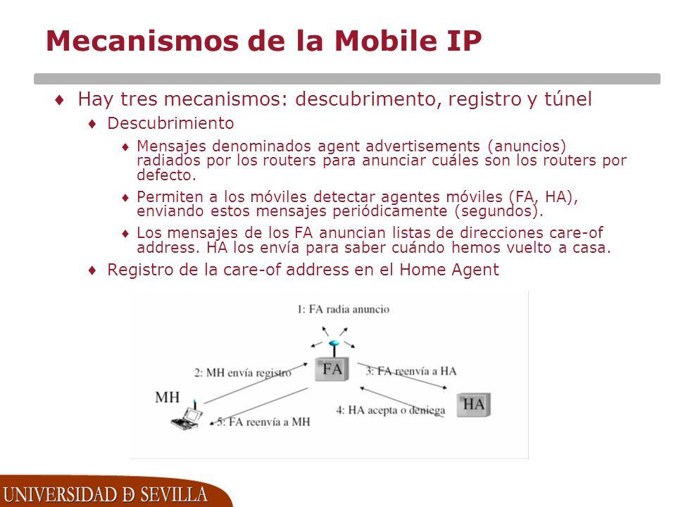 Mecanismos de la Mobile IP Hay tres mecanismos: descubrimento, registro y túnel Descubrimiento Mensajes denominados agent advertisements (anuncios) radiados por los routers para anunciar cuáles son los routers por defecto.