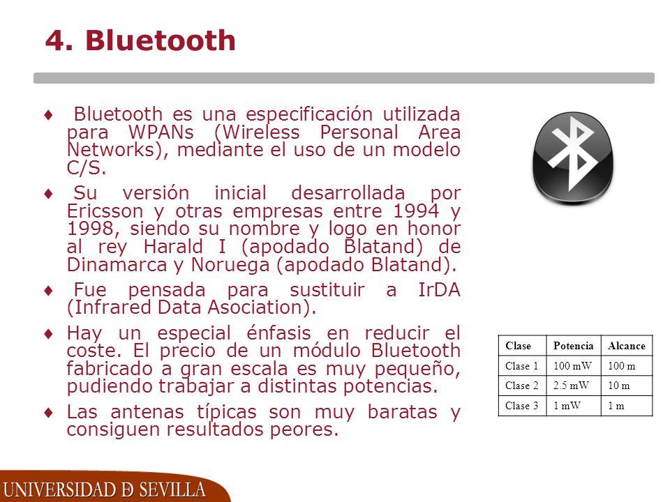4. Bluetooth Bluetooth es una especificación utilizada para WPANs (Wireless Personal Area Networks), mediante el uso de un modelo C/S. Su versión inic