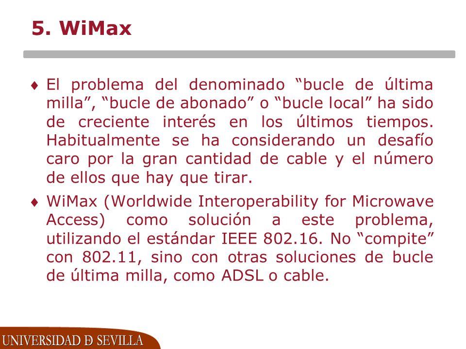 5. WiMax El problema del denominado bucle de última milla, bucle de abonado o bucle local ha sido de creciente interés en los últimos tiempos. Habitua