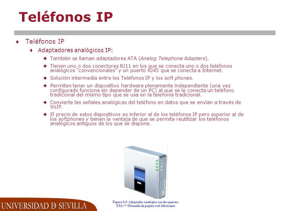 Teléfonos IP Adaptadores analógicos IP: También se llaman adaptadores ATA (Analog Telephone Adapters).