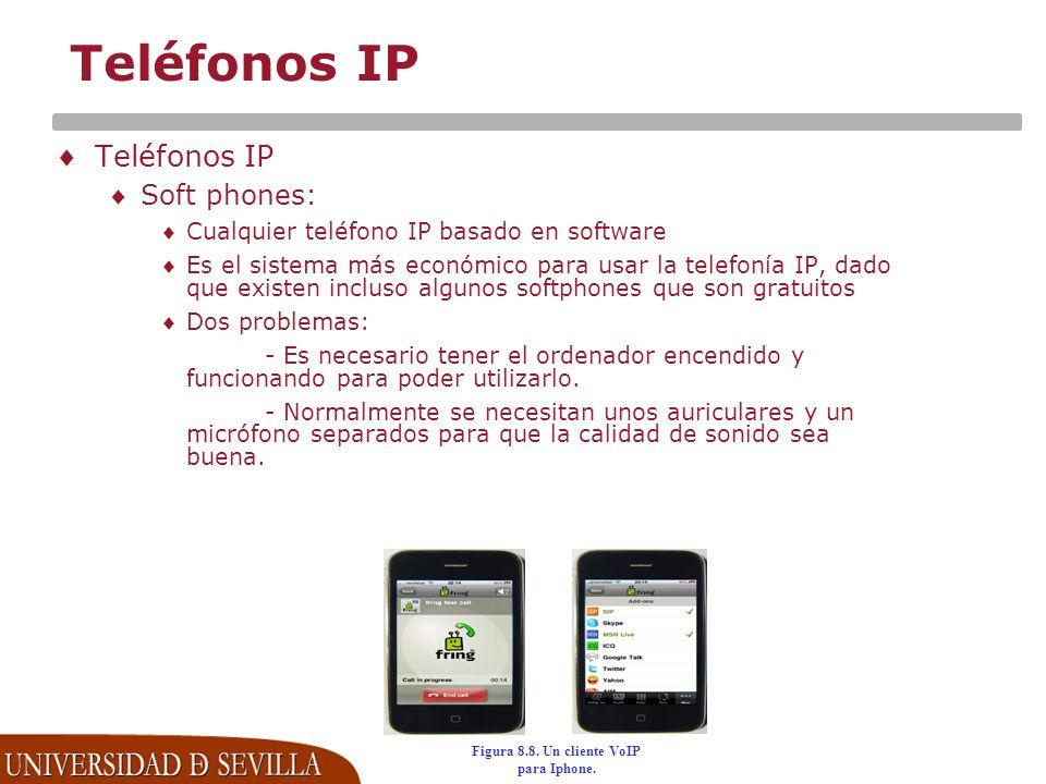 Teléfonos IP Soft phones: Cualquier teléfono IP basado en software Es el sistema más económico para usar la telefonía IP, dado que existen incluso algunos softphones que son gratuitos Dos problemas: - Es necesario tener el ordenador encendido y funcionando para poder utilizarlo.
