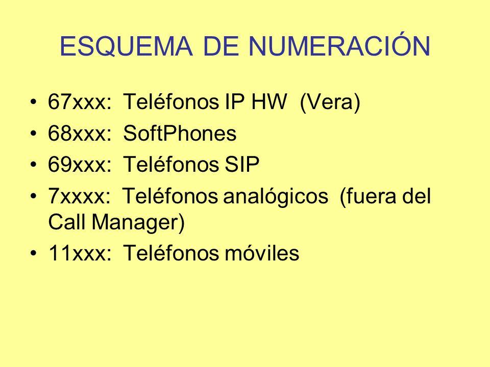 ESQUEMA DE NUMERACIÓN 67xxx: Teléfonos IP HW (Vera) 68xxx: SoftPhones 69xxx: Teléfonos SIP 7xxxx: Teléfonos analógicos (fuera del Call Manager) 11xxx: