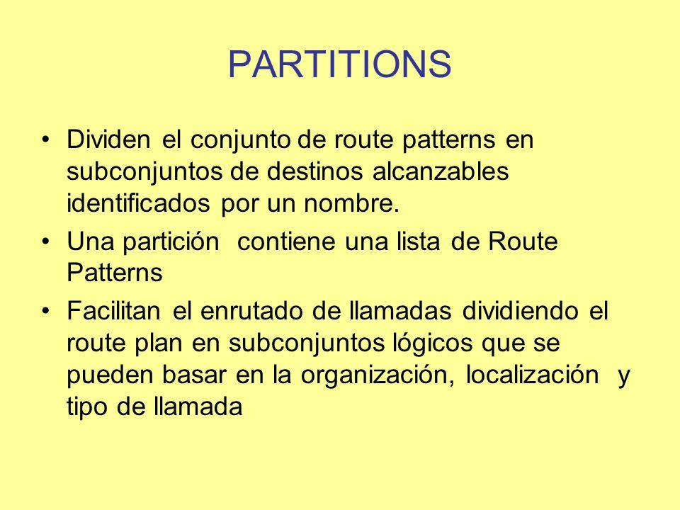 PARTITIONS Dividen el conjunto de route patterns en subconjuntos de destinos alcanzables identificados por un nombre. Una partición contiene una lista