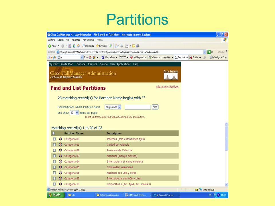 SEARCH SPACES Es una lista ordenada de rutas de partición.