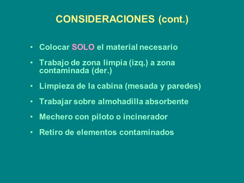 CONSIDERACIONES (cont.) Colocar SOLO el material necesario Trabajo de zona limpia (izq.) a zona contaminada (der.) Limpieza de la cabina (mesada y par