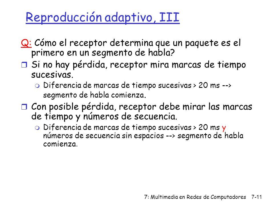 7: Multimedia en Redes de Computadores7-11 Reproducción adaptivo, III Q: Cómo el receptor determina que un paquete es el primero en un segmento de hab