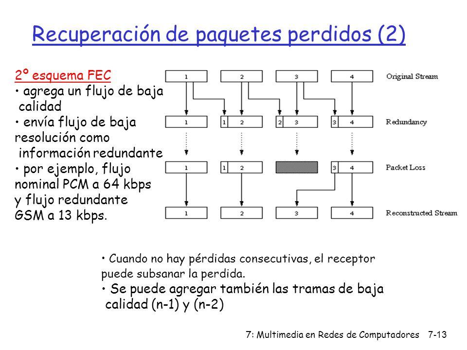 7: Multimedia en Redes de Computadores7-13 Recuperación de paquetes perdidos (2) 2º esquema FEC agrega un flujo de baja calidad envía flujo de baja re