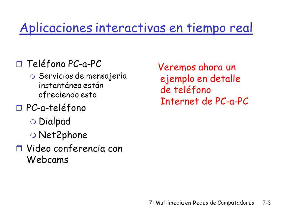 7: Multimedia en Redes de Computadores7-3 Aplicaciones interactivas en tiempo real r Teléfono PC-a-PC m Servicios de mensajería instantánea están ofre
