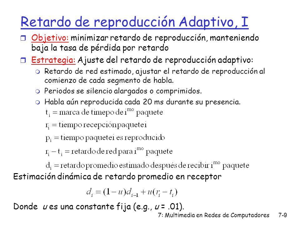7: Multimedia en Redes de Computadores7-9 Retardo de reproducción Adaptivo, I Estimación dinámica de retardo promedio en receptor Donde u es una const