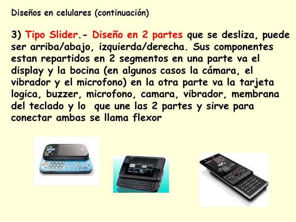 Diseños en celulares (continuación) 3) Tipo Slider.- Diseño en 2 partes que se desliza, puede ser arriba/abajo, izquierda/derecha. Sus componentes est