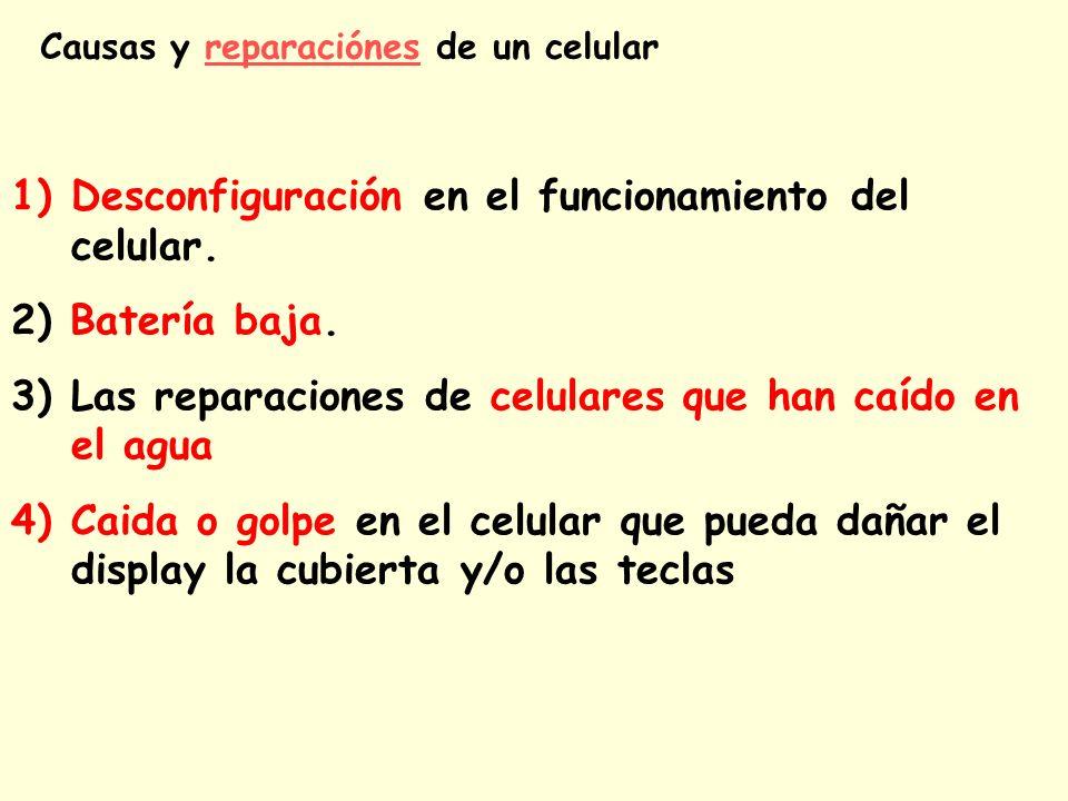 Causas y reparaciónes de un celularreparaciónes 1)Desconfiguración en el funcionamiento del celular. 2) Batería baja. 3)Las reparaciones de celulares