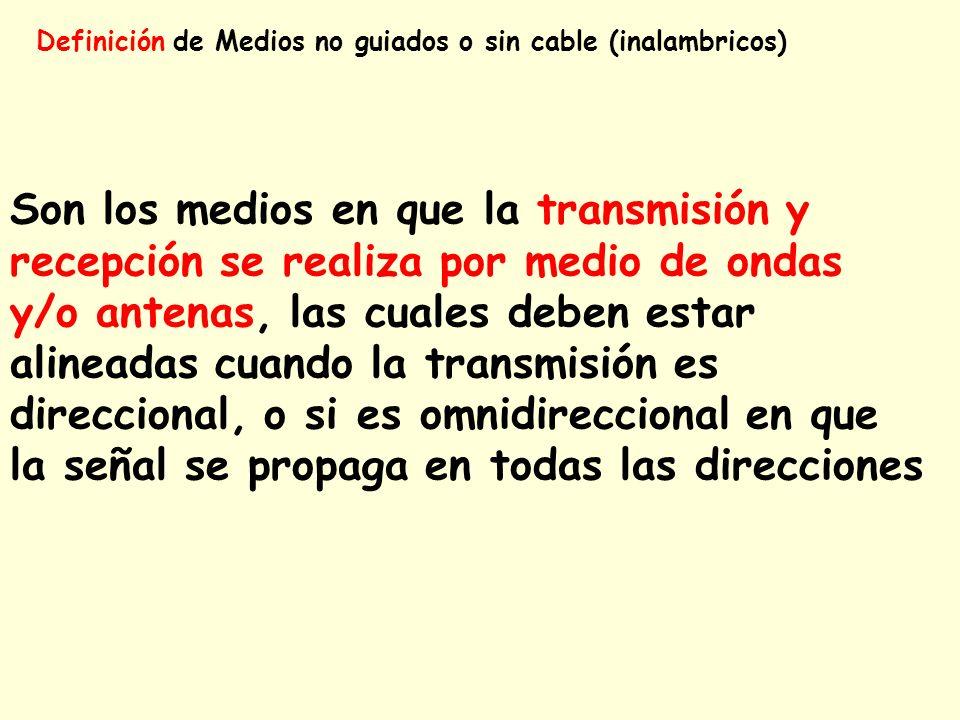 Definición de Medios no guiados o sin cable (inalambricos) Son los medios en que la transmisión y recepción se realiza por medio de ondas y/o antenas,