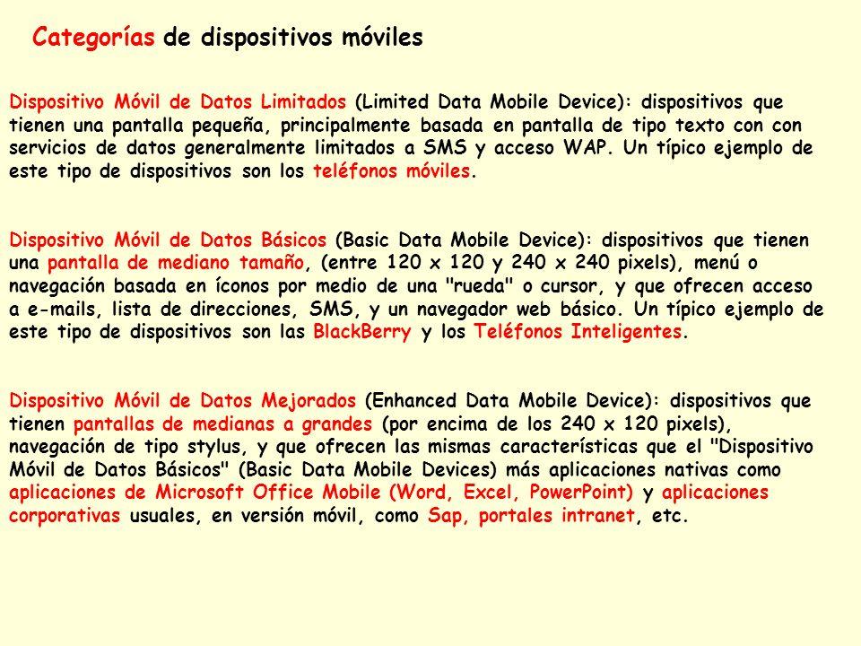 Categorías de dispositivos móviles Dispositivo Móvil de Datos Limitados (Limited Data Mobile Device): dispositivos que tienen una pantalla pequeña, pr