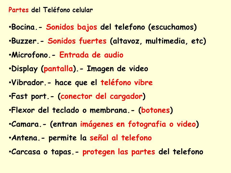 Partes del Teléfono celular Bocina.- Sonidos bajos del telefono (escuchamos) Buzzer.- Sonidos fuertes (altavoz, multimedia, etc) Microfono.- Entrada d