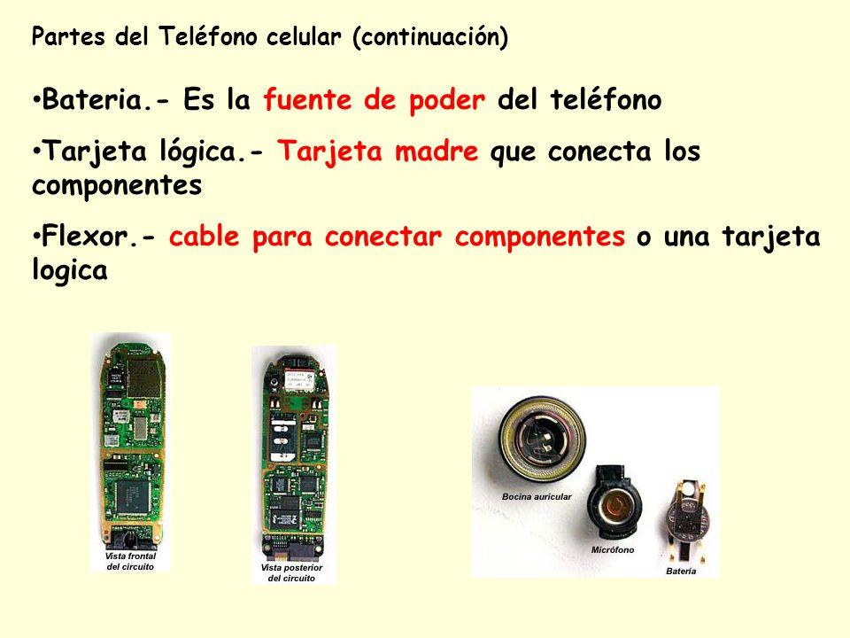 Partes del Teléfono celular (continuación) Bateria.- Es la fuente de poder del teléfono Tarjeta lógica.- Tarjeta madre que conecta los componentes Fle