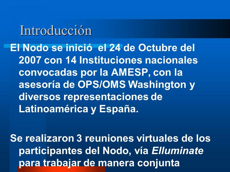 Introducción El Nodo se inició el 24 de Octubre del 2007 con 14 Instituciones nacionales convocadas por la AMESP, con la asesoría de OPS/OMS Washington y diversos representaciones de Latinoamérica y España.