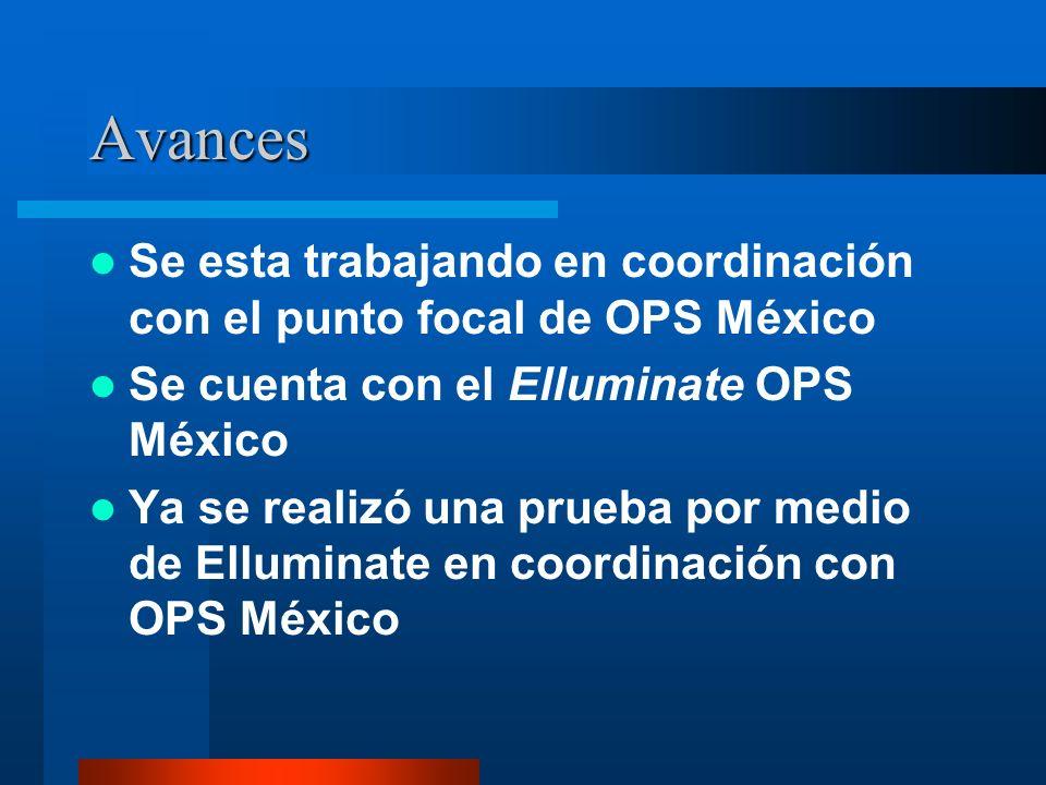 Avances Se esta trabajando en coordinación con el punto focal de OPS México Se cuenta con el Elluminate OPS México Ya se realizó una prueba por medio de Elluminate en coordinación con OPS México