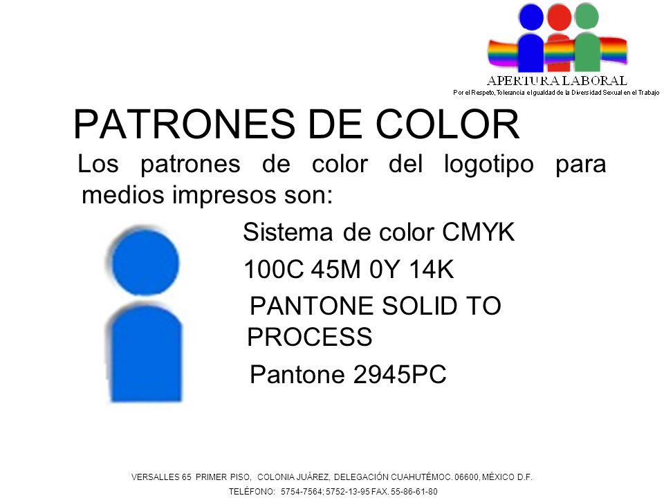 PATRONES DE COLOR Los patrones de color del logotipo para medios impresos son: Sistema de color CMYK 100C 45M 0Y 14K PANTONE SOLID TO PROCESS Pantone