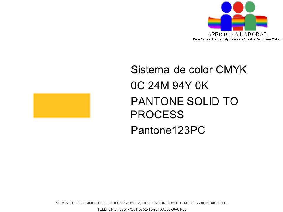 Sistema de color CMYK 0C 24M 94Y 0K PANTONE SOLID TO PROCESS Pantone123PC VERSALLES 65 PRIMER PISO, COLONIA JUÁREZ, DELEGACIÓN CUAHUTÉMOC. 06600, MÉXI