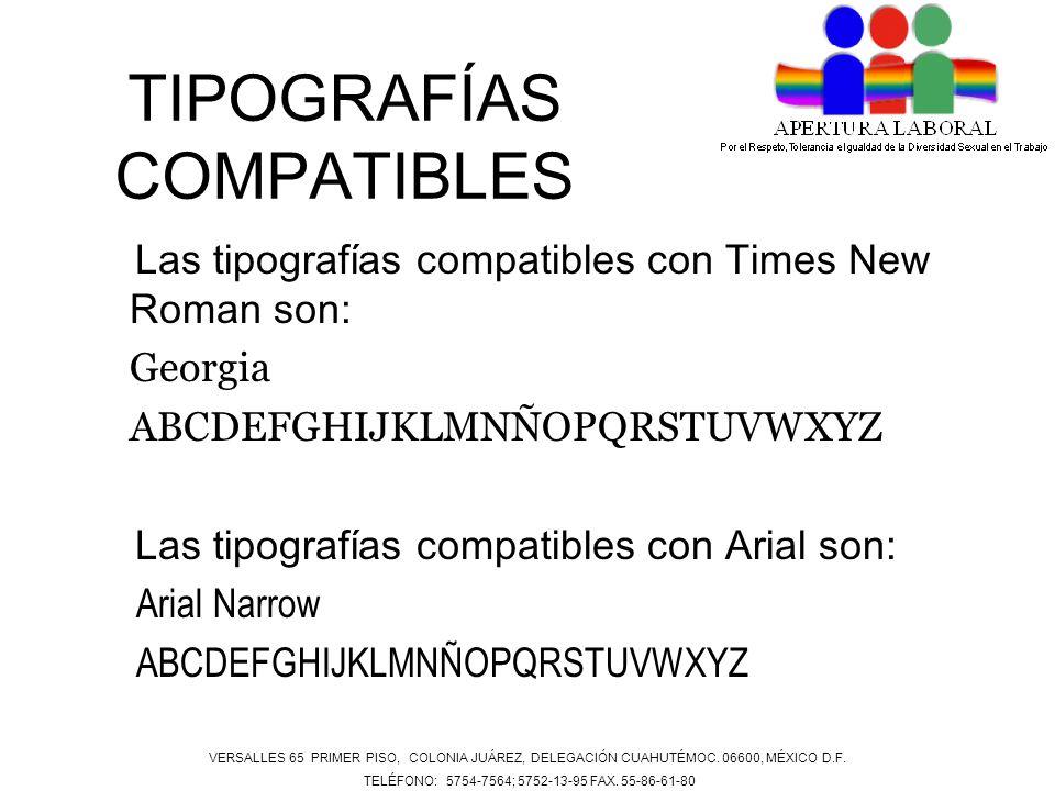 TIPOGRAFÍAS COMPATIBLES Las tipografías compatibles con Times New Roman son: Georgia ABCDEFGHIJKLMNÑOPQRSTUVWXYZ Las tipografías compatibles con Arial
