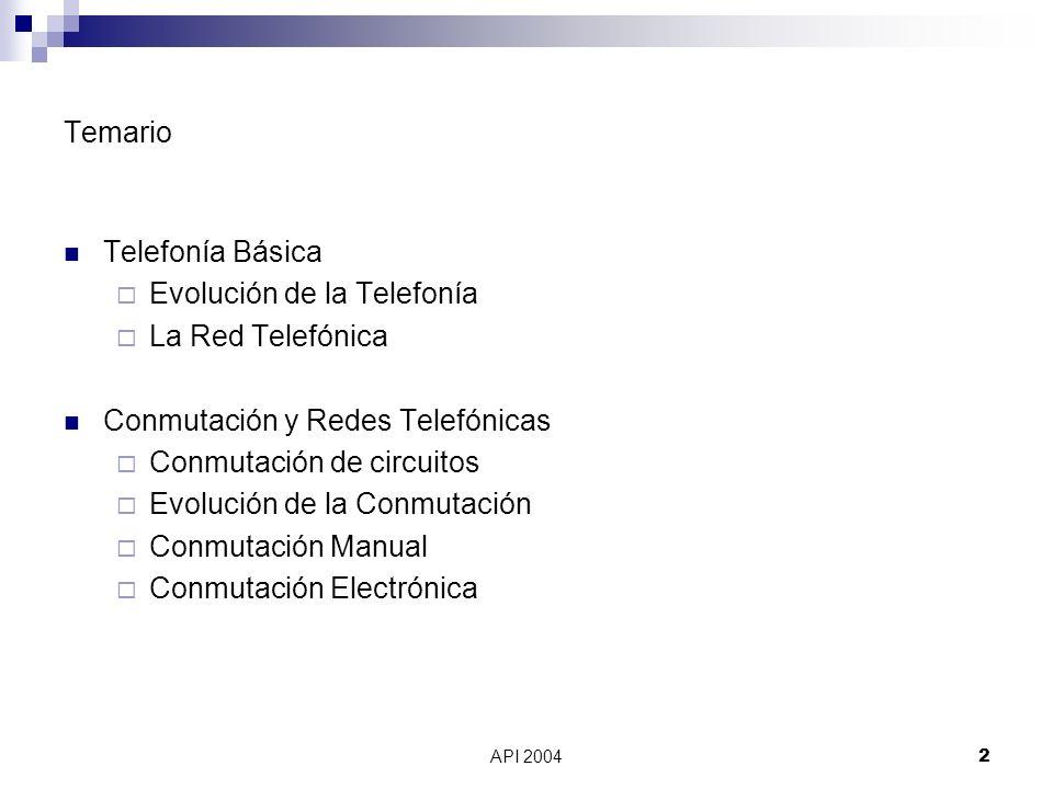 API 20042 Temario Telefonía Básica Evolución de la Telefonía La Red Telefónica Conmutación y Redes Telefónicas Conmutación de circuitos Evolución de l