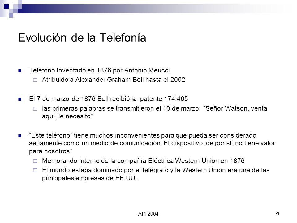 API 20044 Evolución de la Telefonía Teléfono Inventado en 1876 por Antonio Meucci Atribuido a Alexander Graham Bell hasta el 2002 El 7 de marzo de 187