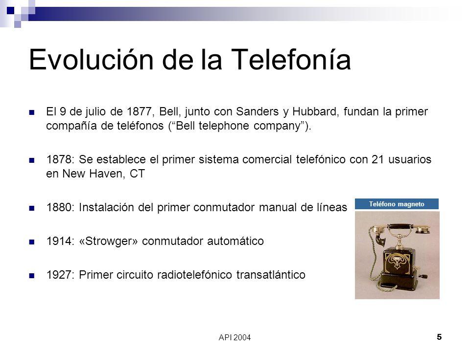API 20046 Evolución de la Telefonía 1934: Theodore Wail entre finales del siglo XIX y primera década del siglo XX estableció el modelo de negocio que hizo posible el desarrollo de la telefonía y a la postre del sector de las telecomunicaciones 1940: Primer conmutador privado (Private Automatic Branch eXchange, PABX) 1956: Primer cable telefónico submarino transatlántico 1958: Los laboratorios Bell desarrollan los módems Década de 1960: se introducen enlaces digitales 1965: Se introducen los satélites de comunicación comerciales y se vuelven rutinarias las conversaciones transoceánicas Teléfono con disco