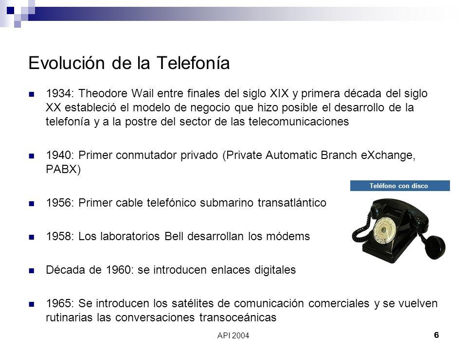 API 20047 Evolución de la Telefonía Década de 1970: se introducen sistemas de conmutación digital 1977: Primeros microprocesadores, la PBX se vuelve electrónica 1988: Primer cable submarino transatlántico en fibra óptica Década de 1990 hasta ahora: VoIP y Telefonía IP Teléfono digital