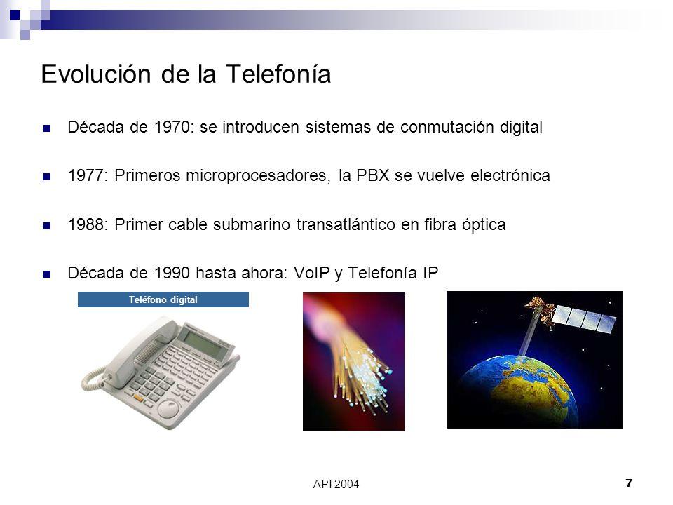 API 20047 Evolución de la Telefonía Década de 1970: se introducen sistemas de conmutación digital 1977: Primeros microprocesadores, la PBX se vuelve e