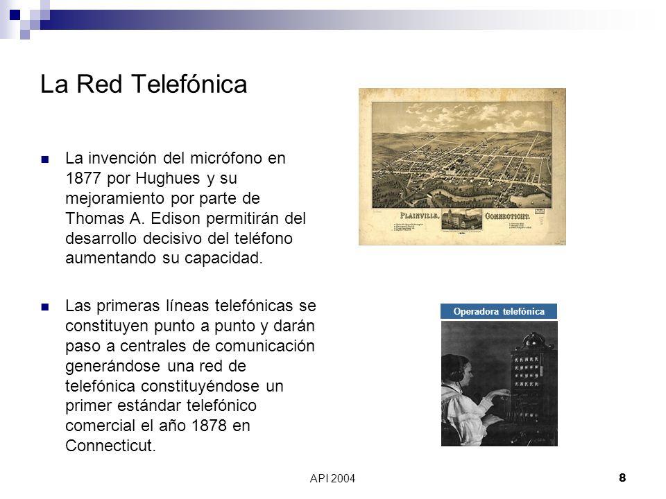 API 20048 Operadora telefónica La Red Telefónica La invención del micrófono en 1877 por Hughues y su mejoramiento por parte de Thomas A. Edison permit