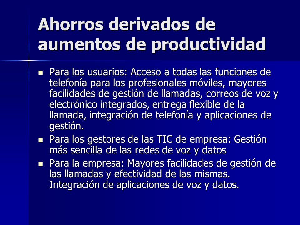 Ahorros derivados de aumentos de productividad Para los usuarios: Acceso a todas las funciones de telefonía para los profesionales móviles, mayores fa