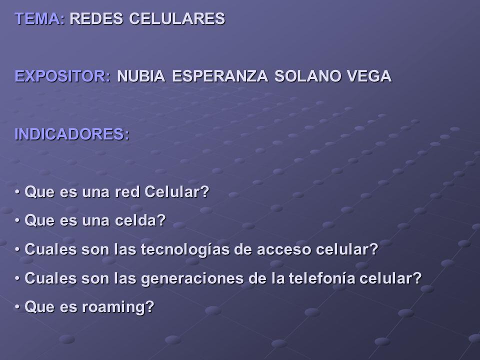 TEMA: REDES CELULARES EXPOSITOR: NUBIA ESPERANZA SOLANO VEGA INDICADORES: Que es una red Celular? Que es una red Celular? Que es una celda? Que es una