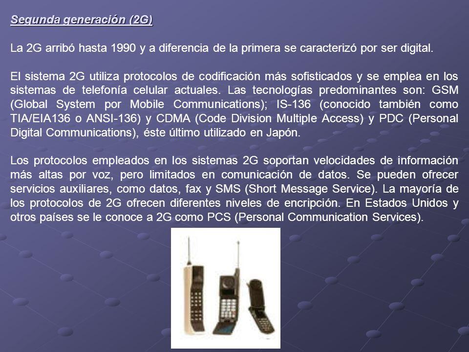 Segunda generación (2G) La 2G arribó hasta 1990 y a diferencia de la primera se caracterizó por ser digital. El sistema 2G utiliza protocolos de codif